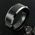 Engraved Tungsten Men's Polished Black Silver Edged Band Ring