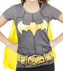 Batgirl Batman Sublimated Suit UP Gray T Shirt Removable Yellow Cape Costume BG1