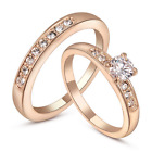 Women Stackable Double Ring Rose Gold Wedding Band Engagement Cubic Zirconia