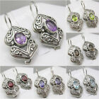 925 Pure Silver BLUE TOPAZ, GARNET & More Stone Variation Antique Style Earrings
