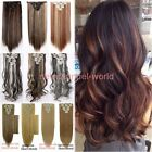 18Clips On In Hair Extensions Straight Curly Full Head Human Hair Extentions LTS