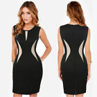 Sexy Women Sleeveless Dress Package Hip Dress office dress Knee Length Black &1
