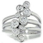 1ct Diamond Journey Right Hand Ring Solid 14K White Gold