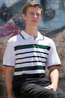 Mens Multi Stripe Pique Polo Shirt Shirt Taped Shoulder - Green, White & Black