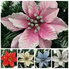 Artificial Christmas Flowers Xmas Tree Decorations Glitter Wedding Party Gifts S