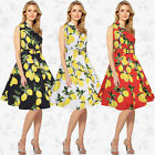 Women Lemon Print Party  Office Prom Cocktail Swing Party Evening Long Dress &2