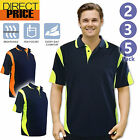 2 3 5 Packs Hi Vis Polo Shirt Arm Piping Panel Work Wear Micro Mesh Cool Dry