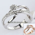 A1-R286 Fashion Flower Ring 18KGP Rhinestone Crystal Size 5.5-9
