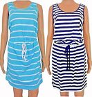 New Women's Cotton Striped Nautical Sun Beach Holiday Dress with Rope Belt