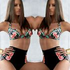 Beauty Womens Vintage Floral Push Up Bra High Waist Bottoms Bikini Set Swimwear