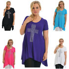Womens Top Plus Size Ladies Cross Stud T-Shirt A-Line Gothic Metallic Nouvelle