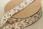 Beautiful 15mm Natural Ivory & Pink Cath Kidtson Style Rose Ribbon