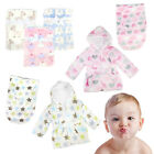 Newborn Baby Blanket Swaddle Dressing Gown Robe Soft Cotton Wrap Gentle Bath Set