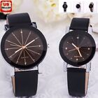 Fashion Womens Mens Stainless Steel Leather Band Quartz Analog Sport Wrist Watch image