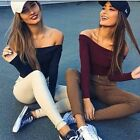 6 Colors Fashion Women's Sexy Fitness Tops Long Sleeve Elegant Off Shoulder Tops