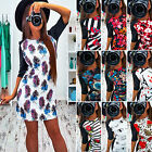 Sexy Womens Printed Polyester Shift Dress 1/2 Sleeve Crewneck Bodycon Wrap Skirt