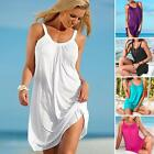 Women Summer Casual Sleeveless Loose Beach Dress Short Mini Dress Simple
