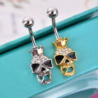 Women's Punk Crystal Skull Navel Ring Body Piercing Jewelry Belly Stud Exquisite