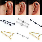 14G Steel Long Industrial Bar Barbell Cartilage Ear Stud Body Piercing Jewelry