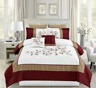 8 Piece Adabelle Burgundy/White/Taupe Comforter Set