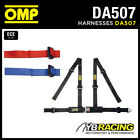 """DA507 OMP 'ROAD 4M' HARNESS 2"""" BELTS with 4-POINT SNAP-HOOK - RED / BLACK / BLUE"""