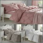Eddison Modern Duvet Cover Set Pleated Quilted Effect 100% Soft Cotton Percale