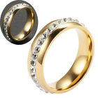 Mens Gold Stainless Steel Craft Glaze Single Row Rhinestone Size 17-21 Ring
