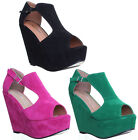 Womens High Wedge Platform Side Buckle Peep Toe Ladies Fashion Sandals