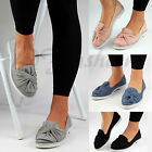 New Womens Flat Pumps Faux Suede Bow Ballerinas Slip On Loafers Shoes Sizes