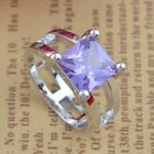 Charming 925 Silver Amethyst Crystal Square Gemstone Ring Wedding Jewelry