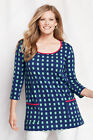Lands' End Woman's Plus Stretch  Tunic Top Scoop Neck Pockets 3/4 Sleeve NWT