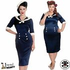 HELL BUNNY Sandra Dee ~ Navy Blue Sailor Pencil Dress ~ Plus Size 40s 50s Wiggle