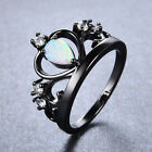 White Fire Opal Princess Crown Wedding Ring Black Gold Filled Gift Size 6,7,8,9