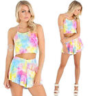 Womens Two Piece Rainbow Croptop Playsuit Clubwear Party Jumpsuit Romper Shorts