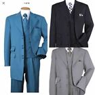 Men's Wool Feel 3 Pair Button Jacket with Double Button Fancy Collar Vest 2917