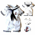 Newborn Baby Boy Infant Anchor Sailor Romper Jumpsuit Bodysuit Clothes Outfits