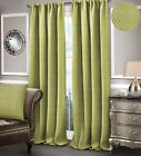 Diamond Detail Green Curtains Fully Lined Ready Made Pencil Pleat & Tiebacks