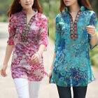Women Ladies Casual Loose Floral Long Sleeve Ladies Chiffon T-Shirt Tops Blouse