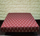AL264t Dark Red Beige Anchor Cotton Canvas 3D Box Seat Cushion Cover Custom Size