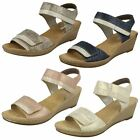 Ladies Rieker Antistress Wedge Heel Hook And Loop Riptape Sandals - 62470