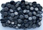 20mm Navy Blue with Antique Silver Metal Insert 2 Hole Costume Buttons (M44)