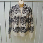 HOODIE Zip Up Hooded Jacket French Terry $64 Pockets New Sweater MED black beige