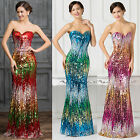 Mermaid Sequins Bridesmaids Masquerade Gowns Formal Cocktail Evening Prom Dress