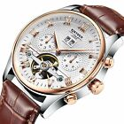 Classic Men's Stainless Steel Automatic Mechanical Date Week Leather Wrist Watch