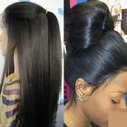 "Soft Yaki Straight Full/Front 100% Brazilian Virgin Human Hair Lace Wigs 8""-22"""