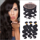 Indian Human Hair Body Wave 13x4 Lace Closure Ear to Ear with 3 Bundles/150g