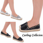 LADIES WOMENS CASUAL SUMMER FASHION STUDDED ESPADRILLES SHOES SIZES 3 4 5 6 7 8