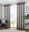 FULLY LINED 100% COTTON PURPLE GREEN CREAM EYELET RING TOP CURTAINS 8 SIZES