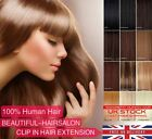 "16""-22"" Full Head Premium Clip in Remy Human Hair Extensions Any Colors UK Stock"
