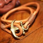 Mens Womens Multilayer Genuine Leather Wrap Rope Wristband Anchor Bracelet #B311